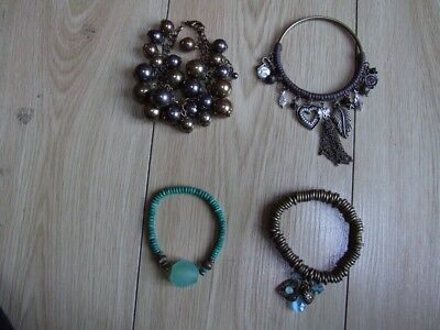 Collection of 4 costume jewellery green & gold bracelets/bangles