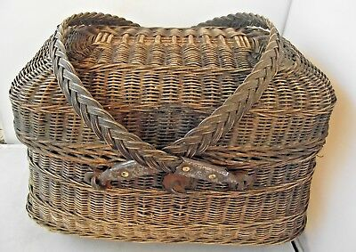 Antique French wicker Ladies Basket Rustic Napoleon III Lions Heads Makers Stamp