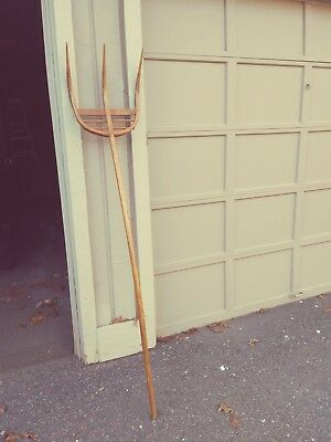 Vintage Wooden Pitchfork, Hand Made, Farm Tool, Hay Fork, Country