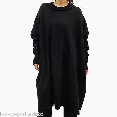 Les Moutons Noirs Sweatshirt Kleid neu OS XL black Oversize Big Shirt Dress NWT