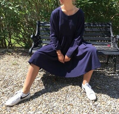 Les Moutons Noirs Sweatshirt Kleid neu OS XL blau Oversize Big Shirt Dress NWT