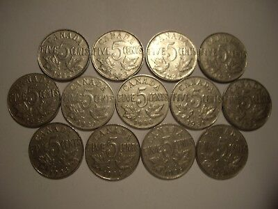 B Canada George V 1922 - 1936 Five Cents - Lot of 13 Coins