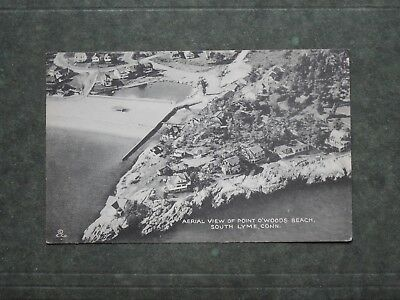 Post Card  K85903  South Lyme, CT  Birds Eye View of Point O'Woods Beach  c-1940