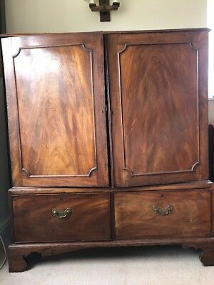 Antique English Mahogany Linen press 19th Century