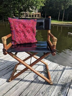 "Vintage McGuire Bamboo & Brass & Black Leather  ""Director's Chair"""