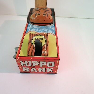 1960's Yone Happy Hippo Tin Litho Wind Up Bank