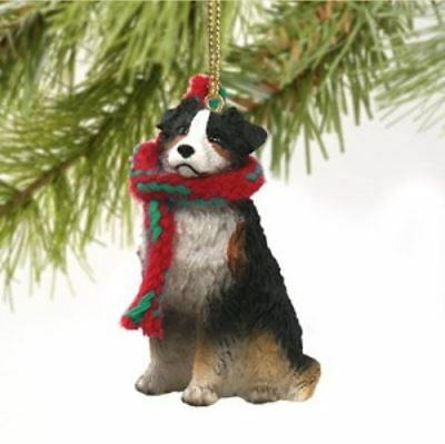 AUSTRALIAN SHEPHERD DOG DOCKED CHRISTMAS ORNAMENT HOLIDAY Figurine Scarf TRICOLO