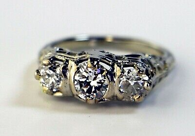GIA 18K Antique Art Deco 3 Stone Old European engagement Diamond Engraved Ring