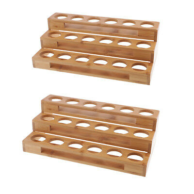2pcs Wooden Display Stand ,Cosmetic Racks 18 Slots Essential Oil Organizer
