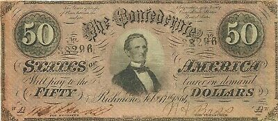1864 $50 Confederate Civil War Currency Note ~ President Jefferson Davis