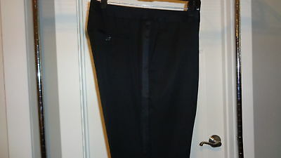 NEW BONOBOS Black Tuxedo Suit Pants Marzotto Italian Wool Straight Fit 33W Unhm