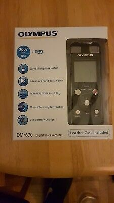 OLYMPUS DM-670 Digital Voice Recorder Dictation 2007hrs 8GB with Leather Case