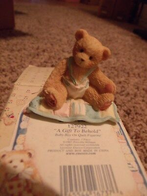 Enesco Cherished Teddies A Gift To Behold Baby Boy Teddy Bear On Quilt 127922