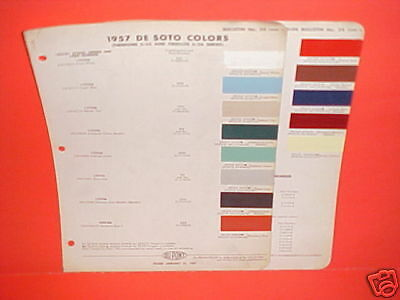 1957 Desoto Firedome Fireflite Convertible Sportsman Coupe Sedan Paint Chips 57