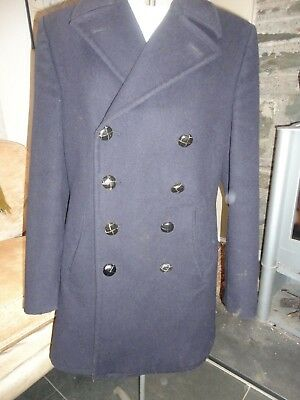 Stunning Vintage German Navy Wool Pea Coat Reefer Coat Docker Size Large 1974?