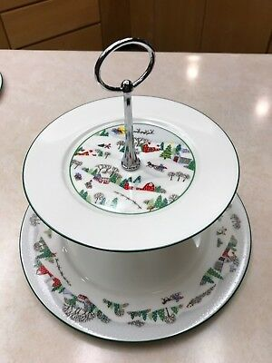Lenox Christmas SLEIGHRIDE ~ 2 TIERED serving tray ~ SLEIGH RIDE china