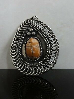 Antique Egyptian Revival Big Fayence Scarab Pendant Old Hand Made Silver