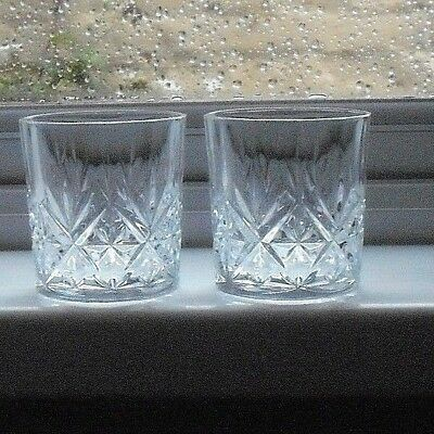 2 cut glass crystal whisky glasses