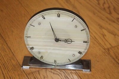 Original Art Deco Circular Onyx and Chromium Mantel Clock