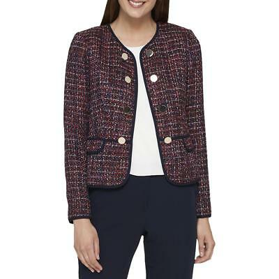 6109b553 Tommy Hilfiger Womens Red Tweed Embellished Open-Front Blazer Jacket 6 BHFO  5203