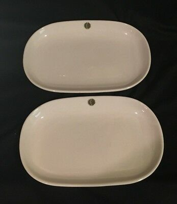 "1960s National Airlines Sun King Logo Pair 7.75"" Casserole Dishes Hall China"