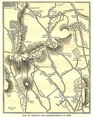 London, Hornsey map, 1819, ready mounted antique engraving SUPERB