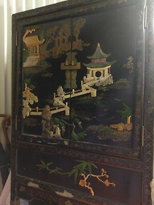 chinese furniture, hand engraved and painted wooden lacquered cabinet