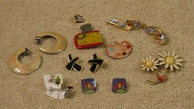 Fashion Costume Jewelry--Lot of Enamel Pins and Earrings