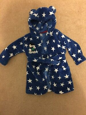 Lovely Baby Boys Disney Mickey Mouse Blue Dressing Gown. 6-12 Months. George.
