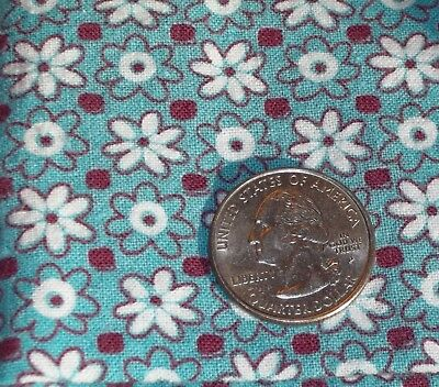 Vintage TEAL  Feed Sack Feedbag Quilt Fabric Small TEAL White Flowers Floral