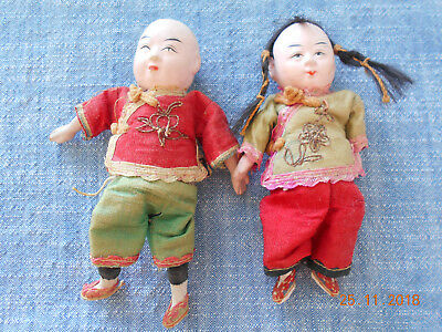 Vintage Collectible Chinese doll pair - Ting and Ling