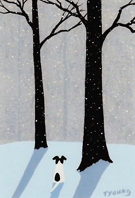 Smooth Fox Rat Jack Russell Terrier Dog Winter Art PRINT Todd Young FALLING SNOW