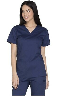 Cherokee Workwear Core Stretch V-Neck Top Navy L