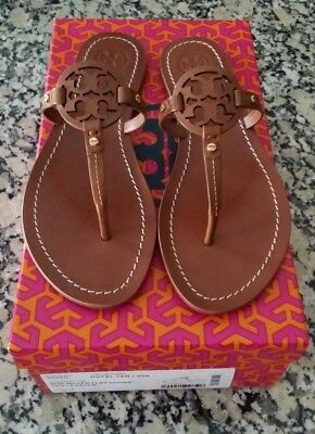 8e94d88466be1f New Women s Tory Burch Royal Tan Mini Miller Flat Thong Sandals Size 7.5