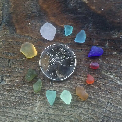 12 PIECE RARE COLOR Genuine Beach Sea Glass Surf Tumbled Frosted $$ ORANGE/RED