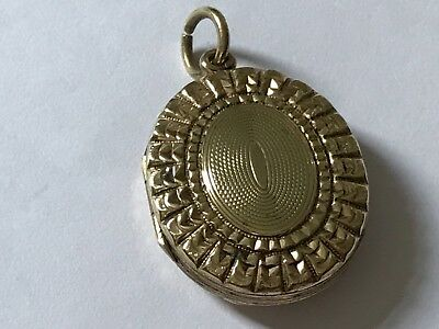 Antique Victorian 1890's 9 ct gold plated engraved photo locket pendant.