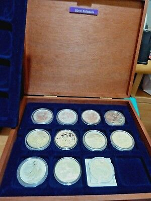 11 Britannia Fine Silver 1 Oz Coins 1998 - 2007 + 2013 In Presentation Box