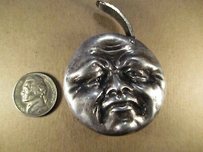 Neat Sterling Silver Smile/Frown Moon Face Match Safe/Vesta, London DAB, 62.4g