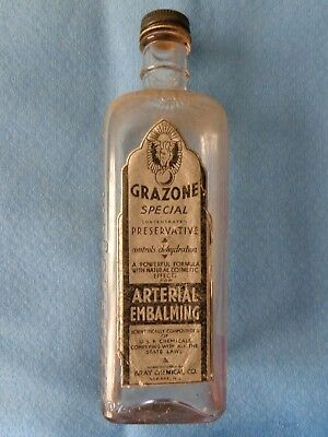 "Vintage Gray Chemical Company ""Grayzone"" Glass Embalming Fluid Bottle"