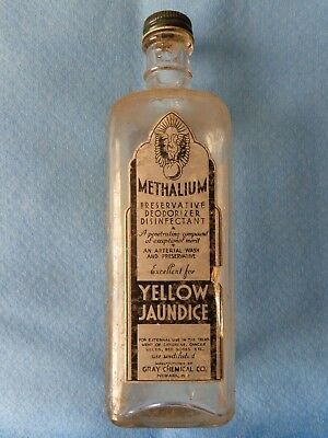 "Vintage Gray Chemical Company ""Methalium"" Glass Embalming Fluid Bottle"