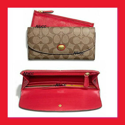 New Rare Coach Peyton Signature Slim Envelope With Pouch Wallet MSRP $228 Red