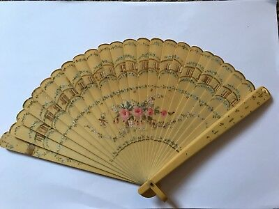Antique Edwardian 1900's celluloid rose forget me not hand painted fan