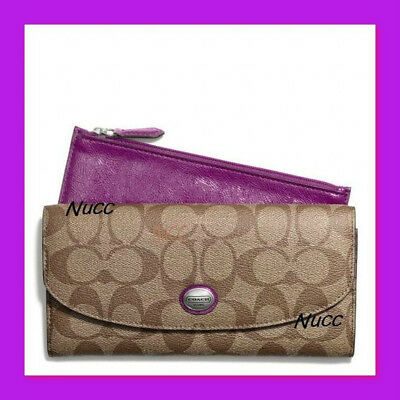 New Rare Coach Peyton Signature Slim Envelope With Pouch Wallet MSRP $228 Plum