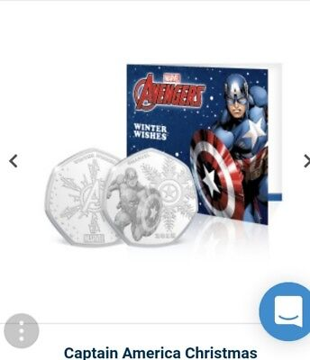 Marvel 'captain america' 50p Shape Coin .999 Silver Plated In Xmas Card