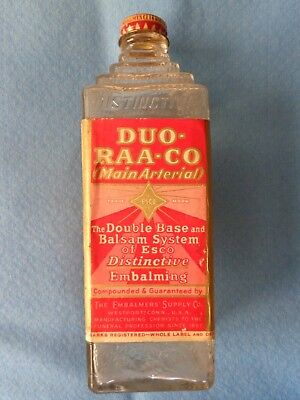 "Vintage Esco ""Duo-Raa-Co"" Main Arterial Glass Pyramid Embalming Fluid Bottle"