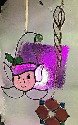 4 P.c Stained glass Christmas lot Elf, Ice, Snowman Vintage window Art