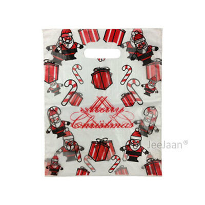 """100 Santa Plastic Carrier Bags 15""""x18""""+3"""" Gift Party Carry Patch Handle"""