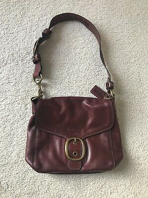 COACH Whiskey Wine Legacy Tattersall Bleecker Flap Distressed Satchel 11419