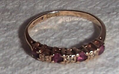 Rkc 10K Solid Gold Vintage Ruby Ring Size 7, 1.1 Grams 4 Rubies