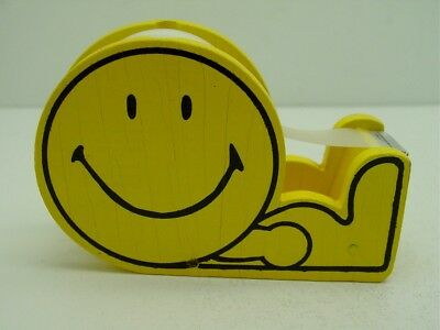 Vintage Smiley Face Tape Dispenser Yellow Wood